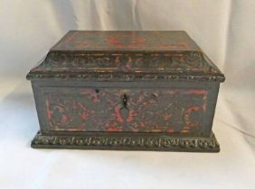 19TH CENTURY BOULLE RED TORTOISESHELL & BRASS INLAID ROSEWOOD CASKET - 18.