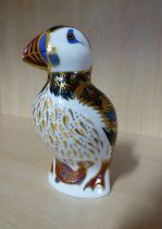 ROYAL CROWN DERBY PUFFIN PAPERWEIGHT WITH GOLD STOPPER - 13.