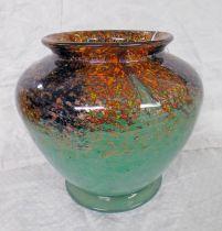 MONART GREEN GLASS VASE WITH AVENTURINE DECORATION,