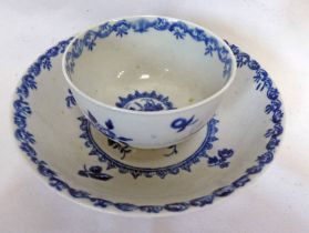 MID 18TH CENTURY WORCESTER PORCELAIN TEA BOWL & SAUCER DECORATED WITH FRUIT & FLOWERS
