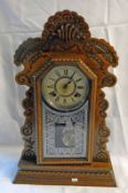 AMERICAN ANSONIA MANTLE CLOCK WITH CARVED DECORATION - 58 CM TALL