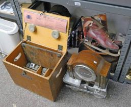 SELECTION VARIOUS RECORDS, SET OF METAL GUARDIAN BABY SCALES & WEIGHTS , ICE SKATES,