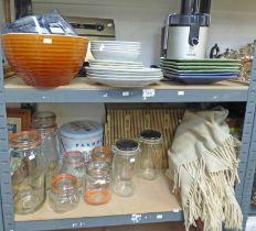 VARIOUS KILNER JARS, PHILIPS ICE CREAM MAKER, ART POTTERY PLATES, ETC,