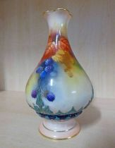 ROYAL WORCESTER FLUTED PEAR SHAPED VASE DECORATED WITH BLACKBERRIES - 16.