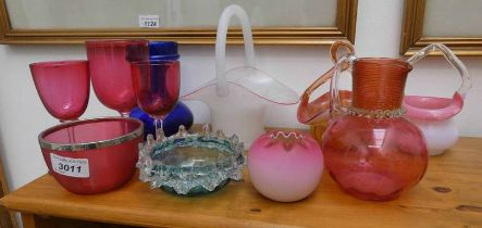 LARGE SELECTION CRANBERRY GLASS INCLUDING JUGS BOWL,