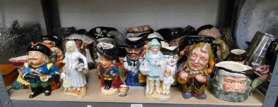 LARGE SELECTION DOULTON & OTHER TOBY JUGS 19TH CENTURY PORCELAIN FIGURES ETC OVER 1 SHELF