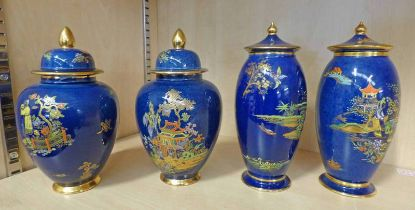 4 CARLTON WARE CHINOISERIE PATTERN LUSTRE LIDDED VASES - TALLEST 18CM Condition Report: