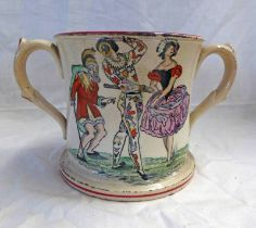19TH CENTURY TWO HANDLED FROG MUG DECORATED WITH HARLEQUIN & 2 OTHER DANCING FIGURES - 10.