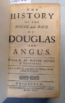 THE HISTORY OF THE HOUSE AND RACE OF DOUGLAS AND ANGUS BY DAVID HUME, HALF LEATHER BOUND,
