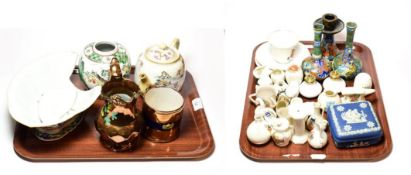 Miscellaneous pottery and porcelain including crested souvenir wares, Gouda pottery, lustre wares,