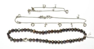 A simulated pearl necklace, stamped '925', length 42.3cm; and a plated necklace and bracelet suite