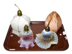 Four glass shades including Victorian vaseline glass, cranberry etc. Vaseline shade 17cm wide by 9cm
