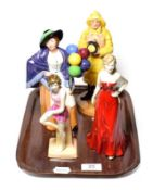 Four Royal Doulton figures including Lifeboat Man, Balloon Lady, Brighton Belle, Gemma . Good