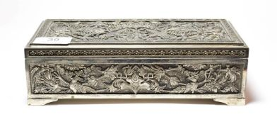 A silver plate dressing-table box, in the Persian or Indian style, oblong, the cover and sides