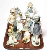 Six Lladro figural and animal theme ceramics, and two others by Casades and Nao (8)