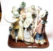 Eight Lladro ceramic figures (8)