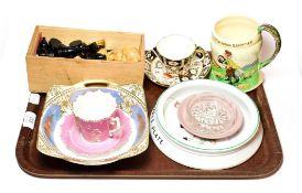 A Shelley Lucie Attwell baby plate, crown Devon Fieldings musical mug, Noritake bowl, Royal Crown