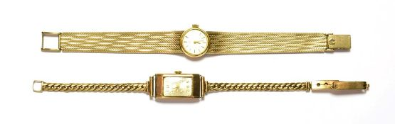 A lady's Omega 9 carat gold wristwatch and another 9 carat gold wristwatch signed Imaco . Omega