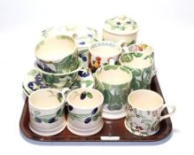 A group of Emma Bridgewater pottery including mugs, cups and saucers, jar and cover, butter box