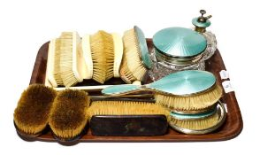 Silver and enamel dressing table items, tortoiseshell dressing table items, and 1920's ivory