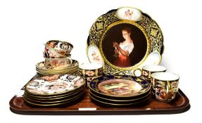 A Vienna porcelain cabinet plate, titled ''Gute Nacht'', three Vienna porcelain side plates, six