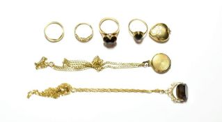 A collection of jewellery including two 9 carat gold rings, finger sizes J and L; two 9 carat gold