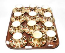 Twelve Royal Crown Derby Imari coffee cans and eleven saucers (23). Three cans cracked, three cans