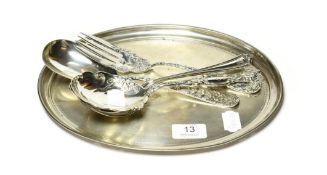 A George V silver dressing-table tray, by Synyer and Beddoes, Birmingham, 1924, oval and engraved
