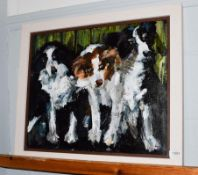 Lesley Heath (Contemporary) Waiting their turn at the sheep dog trials, initialled, oil on board,