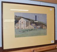 Kenneth Holmes, sheep grazing before a mill, signed and dated 1925, watercolour, 23cm by 34.5cm