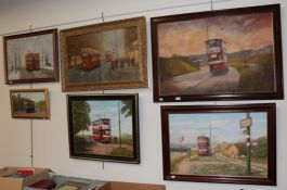 Three contemporary acrylics on board, street scenes with trams in Leeds by Paul Murphy, and three