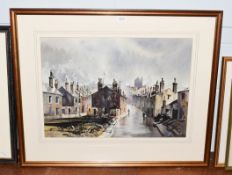 John Barrie Haste (1931-2011) Northern street scene, signed watercolour, 47cm by 66cm