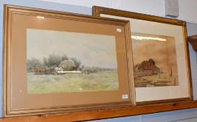 A* Meyrick, A break from harvesting, signed and dated 1903, watercolour, together with a 19th/20th
