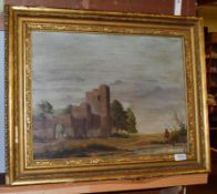 British school (20th century) Figures amongst a ruin, indistinctly signed, oil on board, 38cm by