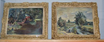 Danton Adams RA (1904-1990) Pair of Plein-Air landscapes with figures, oil on canvas, both paintings