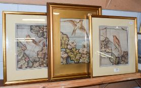 British School (late 19th century) Three bird studies in the Aesthetic movement style,