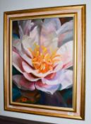 Nancy Murgatroyd (Contemporary) ''Dream Away'' study of a camellia, signed, oil on canvas, 59cm by