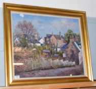J*D*Henderson (20th century) Townscape, signed and dated (19)90, oil on canvas, 49cm by 59cm