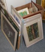 Zillah Patrick, collagraph, together with a collection a miscellaneous prints and paintings by