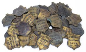 Natural History: A Quantity of Copper Taxidermy Identification Shields, circa 1870, forty four