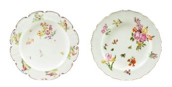 A Chelsea Porcelain Dessert Plate, circa 1755, painted with flowersprays and scattered sprigs within