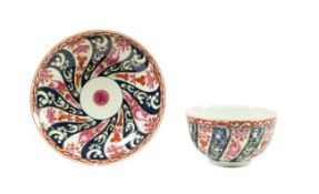 A Worcester Porcelain Breakfast Tea Bowl and Saucer, circa 1775, painted with the Queen Charlotte