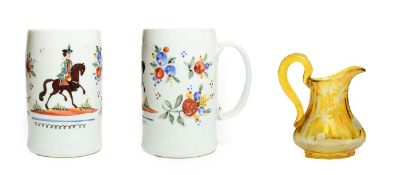A Bohemian Milchglas Mug, circa 1780, painted with a gentleman on horseback flanked by flowersprays,