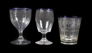 A Glass Beaker, early 19th century, of bucket form with blue glass rim, inscribed ELLEN AXON and