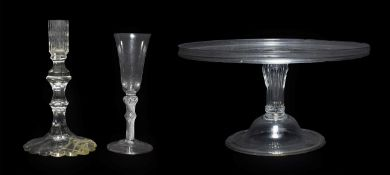 A Glass Tazza, circa 1770, of circular form with moulded gallery on a panelled baluster stem and