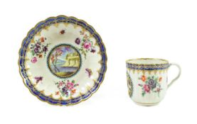 A Worcester Porcelain Fluted Coffee Cup and Saucer of Dalhousie Type, circa 1780, each painted
