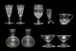 A Pair of Regency Cut Glass Salts, circa 1810, of panelled boat form on lemon squeezer bases, 10cm