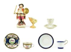 A Derby Porcelain Figure of Falstaff, circa 1780, standing, a sword in one hand, his shield in the