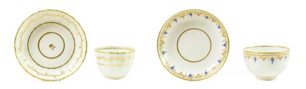 A Derby Porcelain Tea Bowl and Saucer, circa 1790, painted in blue, pink and gilt with a band of