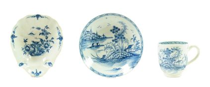 A Worcester Porcelain Shell Pickle Dish, circa 1758, painted in underglaze blue with the Two Peony